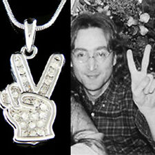 w Swarovski Crystal John Lennon Hand Peace V Victory Sign Hippy Necklace Jewelry