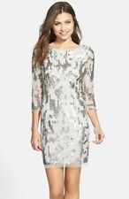 NWT Adrianna Papell Embellished Sheath Dress SILVER Size :6   # A89