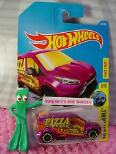 HOT WHEELS FORD TRANSIT CONNECT #143✰magenta;yellow PIZZA ✰2017 i case F/G