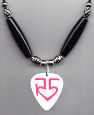 R5 White/Pink Logo Guitar Pick Necklace