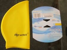 NEW Wave Sports Silicone Youth Swim Cap Ages 10 and up Yellow Swimming Hat