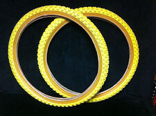 NOS Pair YELLOW 24 x 1.75 CHENG SHIN COMP III TIRES Old School BMX Cruiser 3
