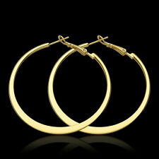 3 Colors 18K Gold Plated Smooth Flat Large Circle Women Hoop Earrings EY949