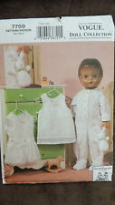 """Vogue Pattern No. 7759 - 18"""" Doll Clothes - Uncut - Pajamas and Undergarments"""