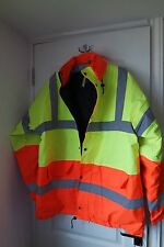 HIGH VIS JACKET XL ORANGE/YELLOW QUILTED LINING