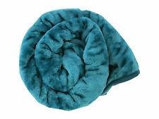 Large Teal  Mink Fur Bed Throw 150 x 200