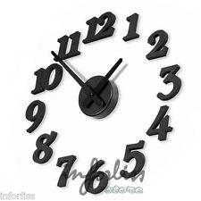 Reloj adhesivo silencioso decorativo para la pared en color negro 3D