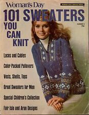 Womans Day 101 Sweaters #3 Knitting Patterns Fair Isle Aran Nordic Pullover 1970
