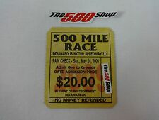 2009 Indianapolis 500 Mile Race Grounds Gate Admission Used Ticket