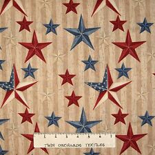 Patriotic Fabric - We the People Primitive Country Stars Brown - Wilmington YARD