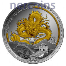 Cameroon 2012 Year of Dragon Gilded Silver Proof Coin 1000 Francs Rare Perfect