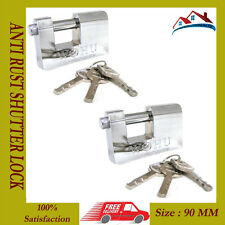 2 x HEAVY DUTY ANTI RUST SHUTTER PADLOCK SECURITY SHACKLE LOCK 90MM QUALITY
