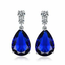 Attractive Charming 18k white gold filled Blue Sapphire dangle pierced earring