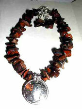 Coin Jewelry~Tiger Eye Bracelet with antique silver Mercury Dime-free earrings