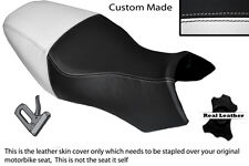 BLACK & WHITE CUSTOM FITS BUELL ULYSSES XB12X 1200 LEATHER DUAL SEAT COVER