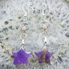 A Pair Amethyst Star Tibet silver Flower Earrings N171