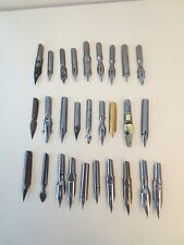 Variety Lot of 28 [24 different] Calligraphy Vintage Dip Pen Nibs Tips