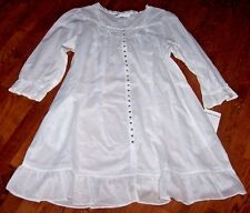 NWT Eileen West White FLORAL CROCHET Button MID-LENGTH Cotton Lawn Gown/Robe L