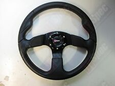 D1 RACE FLAT 340mm PU LEATHER STEERING WHEEL BLACK FOR OMP MOMO NARDI SPARCO WF