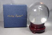 """Beautiful Clear Amlong 5.5"""" Crystal Ball with Wooden Stand EXCELLENT"""