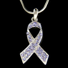 w Swarovski Crystal ~Periwinkle Purple Esophageal Stomach Cancer Ribbon Necklace