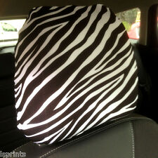 CAR SEAT HEAD REST COVER 2 PACK BLACK & WHITE ZEBRA DESIGN MADE IN YORKSHIRE