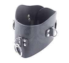 Black Faux Leather Bondage Posture Collar – Kinky Sexy Fetish Slave