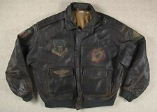 VTG 80s A-2 STYLE PATCHED LEATHER FLIGHT BOMBER JACKET MADE IN ITALY 2XL/3XL