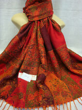 Reversible Bonamian Flower 30% Silk 70% Pashmina Scarf Shawl Wrap red