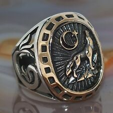 925 Sterling Silver ring for men with Wolf exceptional Turkish craftsmanship