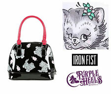 IRON Fist Edizione PUSSYCAT PUSSYCAT LIMITED in Vernice Nera Gatto Cupola BOWLER BAG