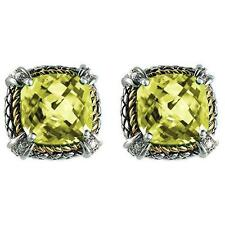 18k Sterling Silver Cushion Lemon Quartz Diamond Omega Clip Earrings ACE07/20-LQ