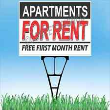 "18""x24"" APARTMENTS FOR RENT Outdoor Yard Sign & Stake Lawn Free First Month Move"