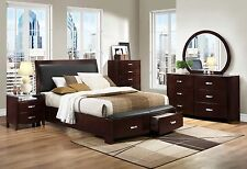 RUBY-5pcs Contemporary Espresso Queen King Sleigh Storage Bedroom Set Furniture