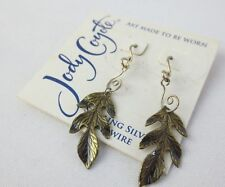 Jody Coyote Holiday Sterling Silver Burgundy Autumn Artistic Leaf Drop Earrings