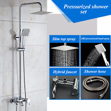New Bathroom Wall Mounted Shower Faucet Set Mixer Tap Rainfall & Handheld Shower