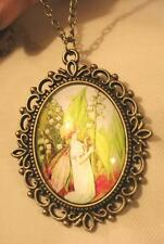 Pretty Picot Rimmed Brasstone Fairy Angel Lily of the Valley Pendant Necklace