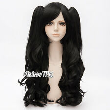 Women 90CM Long Curly Lolita Gothic Party Cosplay Black Hair Wig + Two Ponytails