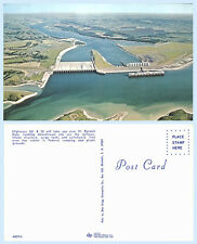 Aerial view Ft Randall Dam South Dakota Postcard - Raod and Highway 281 & 50