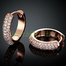 2016 Women Rose Gold Plated Crystal Small Circle HUGGIE Hoop Earrings XMAS Gift
