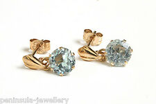 9ct Gold Blue Topaz Drop earrings Gift Boxed Made in UK