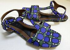 Marni Italy Blue & Green Canvas Flat Sandals 36 US 5.5M