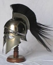 Medieval Armour Greek Corinthian Armor Helmet W/ Black Plume Halloween Costume
