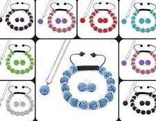5set/lot 10mm mix hot crystal shamballa set earring necklace pendant bracelet