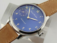 Parnis 44mm  Mechanical 6497 Seagull Hand Winding mens Big Blue Dial Watch 1556