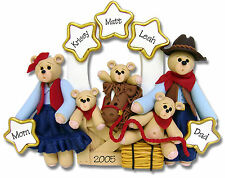 Personalized COWBOY FAMILY of 5 Christmas ornament polymer clay by Deb & Co.