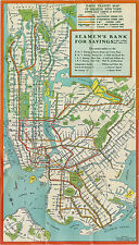 """1948 New York City NYC Subway System Map Train Transit IRT BMT IND Poster 9""""x16"""""""