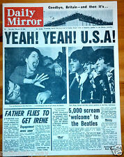 BEATLES Llegada en Estados Unidos Daily Mirror Periódico Old Antigüedad Pop