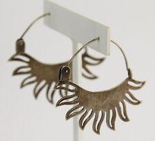 VINTAGE MEXICO Jewelry STERLING SILVER MODERNIST SUN PIERCED HOOP EARRINGS