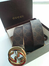 Authentic Gucci Men's Brown Gold Buckle Leather Belt 95/38